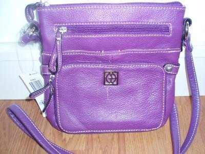 Giani Bernini Purple Pebbled Leather CrossBody Bag NWT