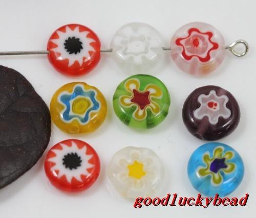 100pcs Mixed Flat Round Millefiori Glass Beads Spacer Bead 10mm