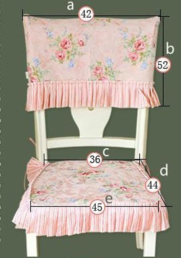 Shabby Delicate Victorian Pink Rose Floral Chair Pad & Chair back
