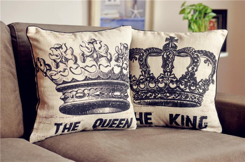 King And Queen Decorative Pillows : New Set Vintage THE KING THE QUEEN Cotton Linen Throw Pillow Case Cushion Cover