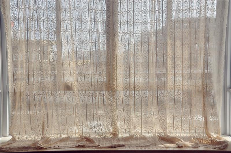 French country style cotton linen beige hand crochet lace curtain f011