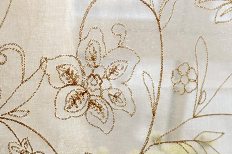 French country cream cotton embroidery floral eyelet sheer