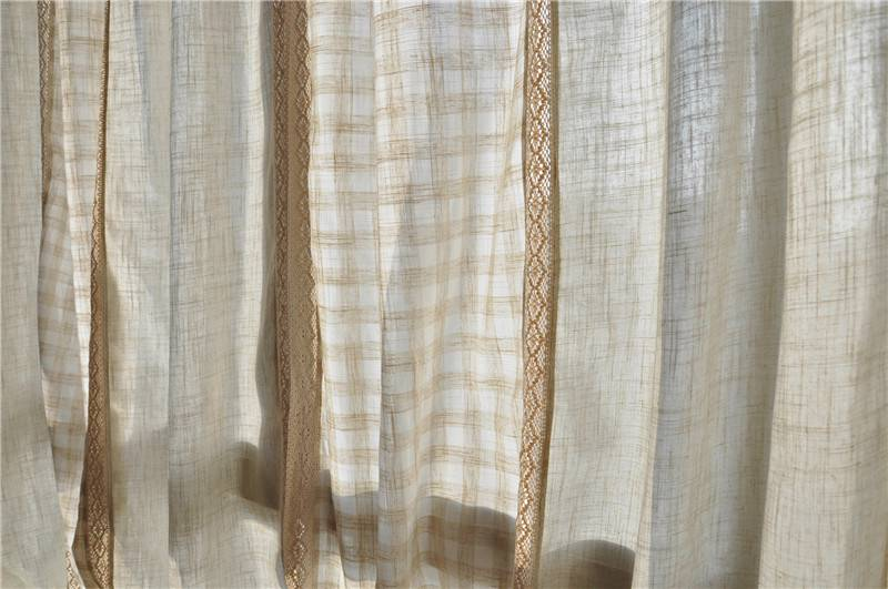 French Country Style Cotton Linen Patchwork Cotton Crochet Lace Curtain F022
