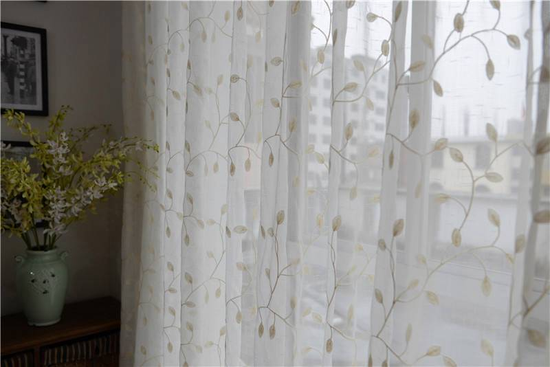 french country embroidered leaves white sheer curtain