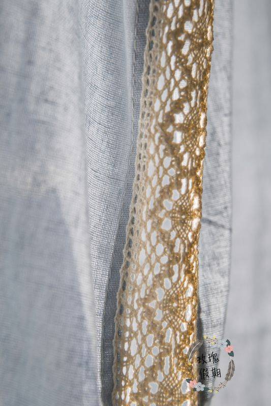 French Country Blue Cotton Linen Crochet Lace Curtain Living Room Curtain Ebay
