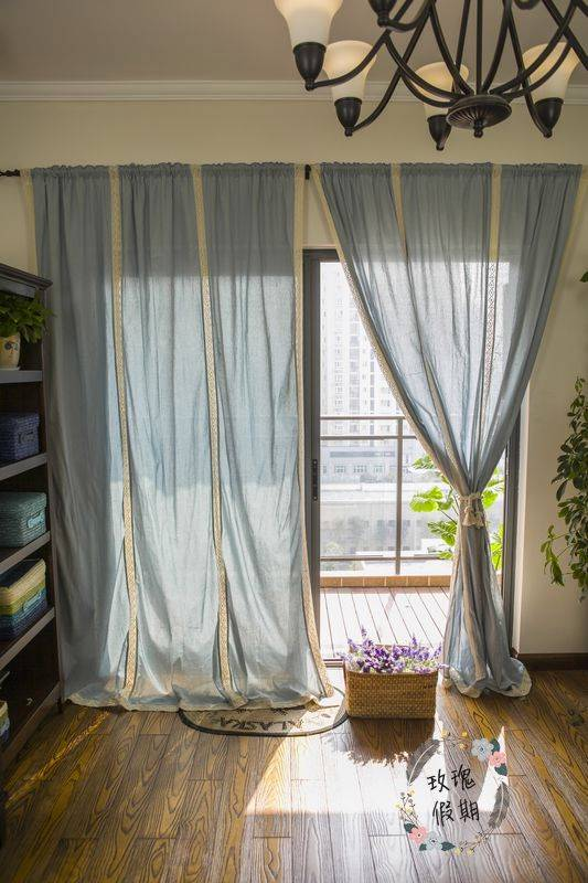 French Country Blue Cotton Linen Crochet Lace Curtain ...