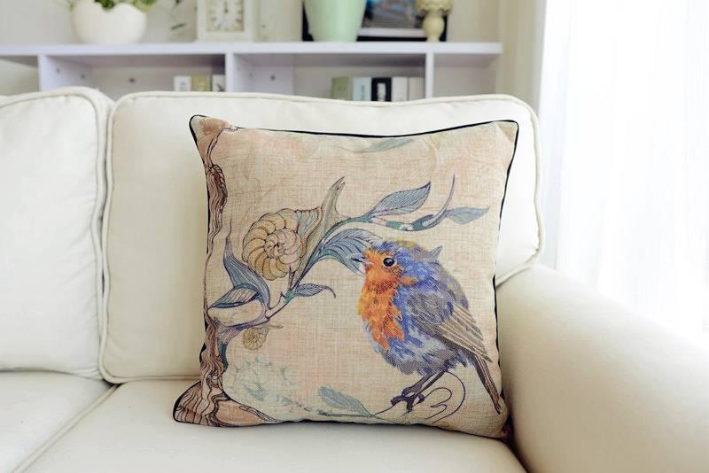 Vintage Country Floral Bird Theme Cotton Linen Throw Pillow Case Cushion Covers eBay