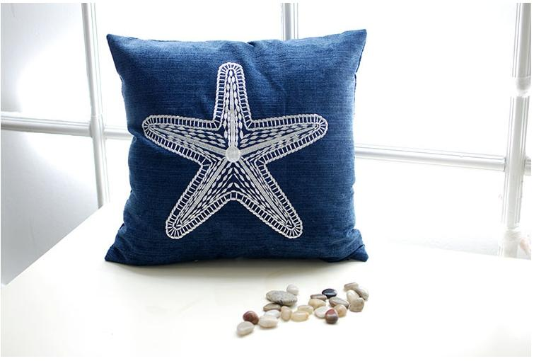 Chenille Throw Pillow Covers : Blue Ocean Embroidered Chenille Throw Pillow Case Cushion Cover Pillow Sham eBay