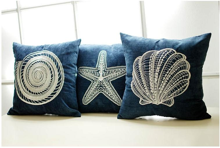 Blue Ocean Embroidered Chenille Throw Pillow Case Cushion Cover Pillow Sham eBay