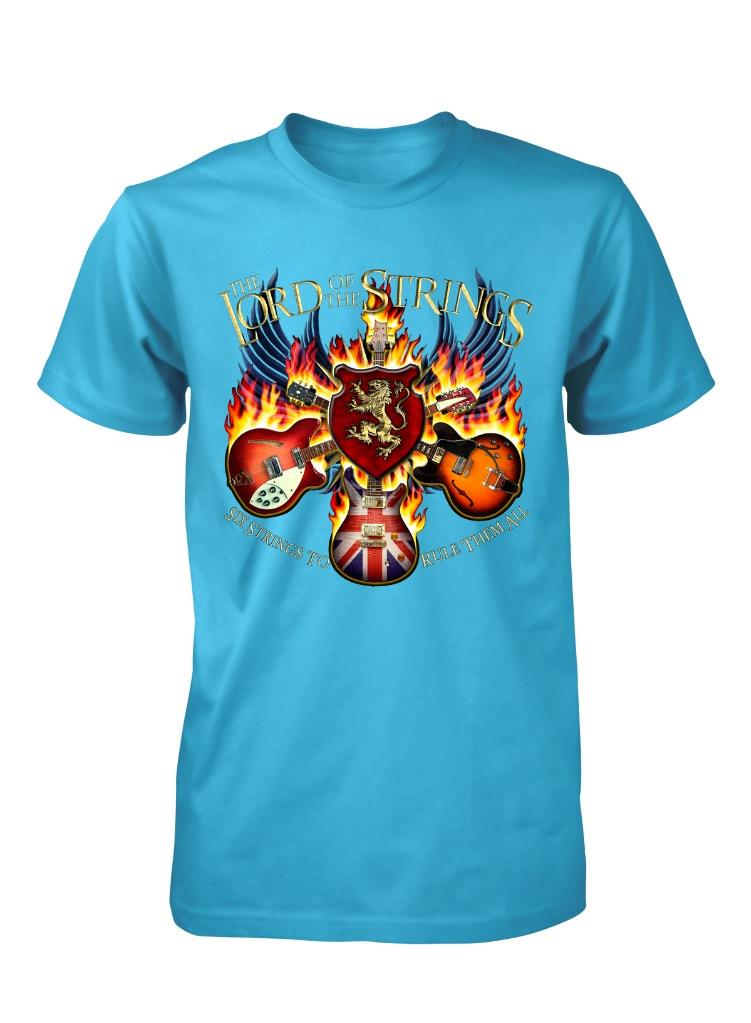 Bnwt lord of the strings guitar band music rock adult t for Xxl band t shirts