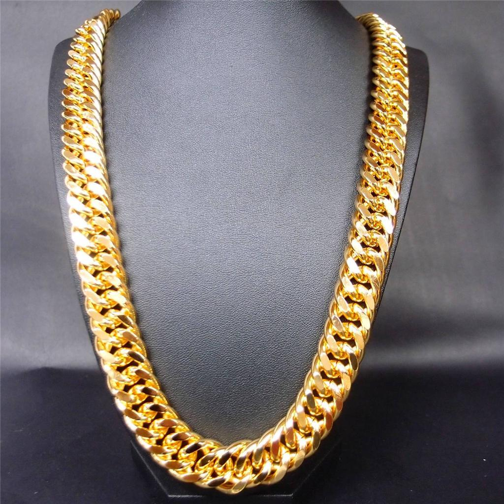 ydl plated chain s com heavy bracelet men jewelry dp amazon link cuban gold chains inches