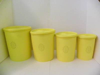 vintage tupperware canister set 8 piece seals lids yellow kitchen