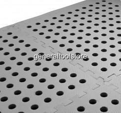 EVA INTERLOCKING FOAM FLOOR MATS PERFORATED HOLES CARAVAN AWNING - Black and white interlocking floor mats