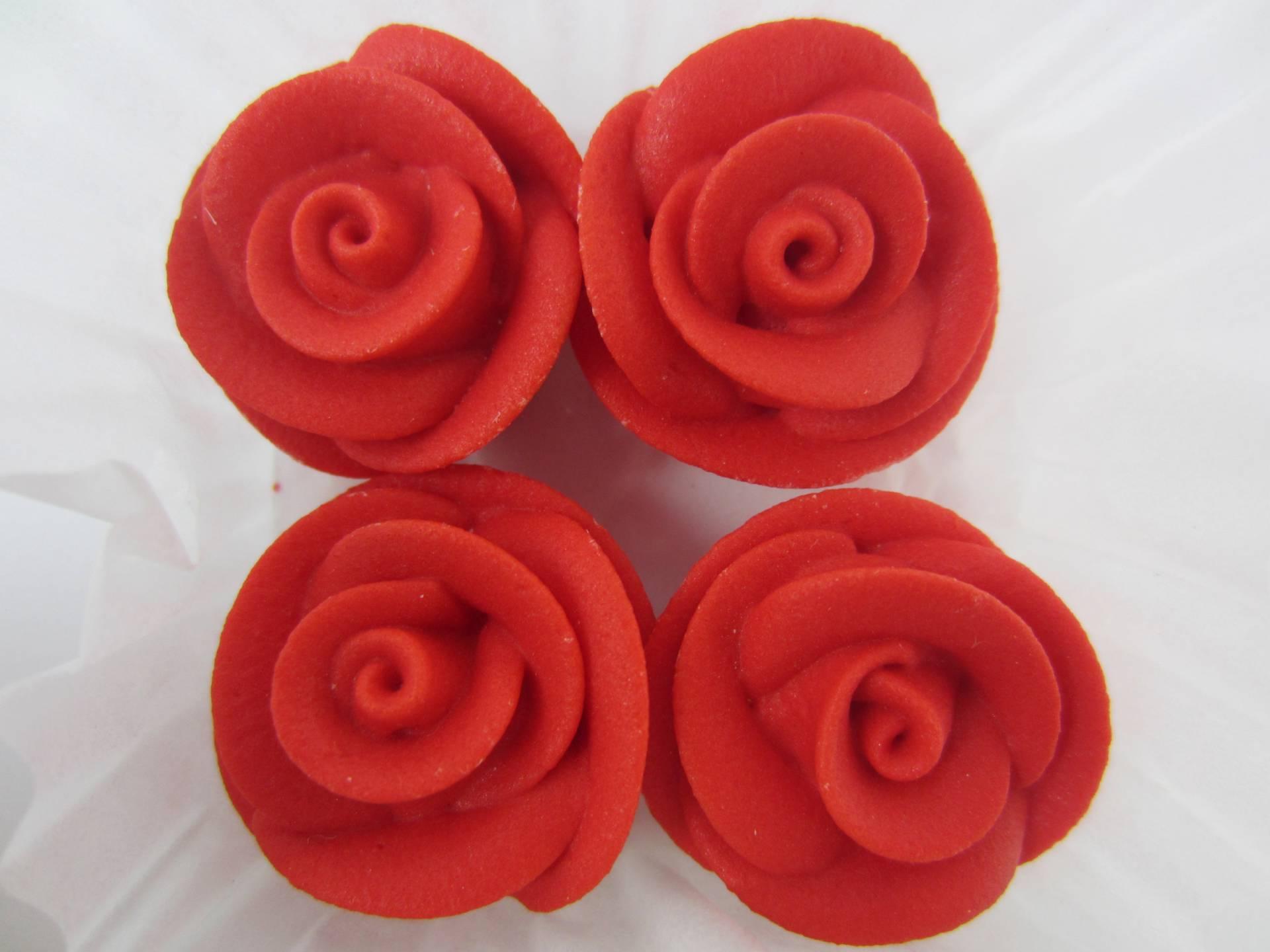 Edible Rose Cake Decoration : 24xEdible RED Roses Cupcake Cake Toppers Sugar ...