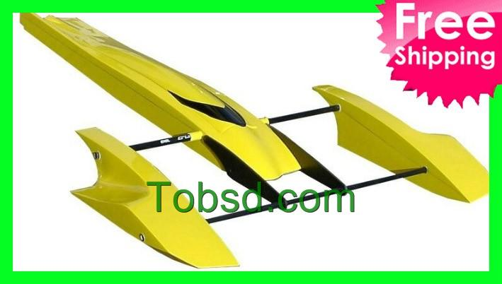 33 inch Yellow Poseidon FibreGlass Outrigger Rc Boat Hydroplane Kit Hydro Rigger