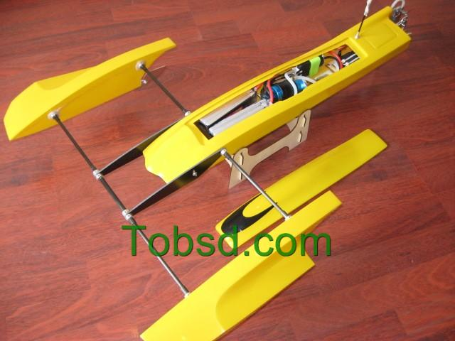 33 inch Yellow Poseidon FibreGlass Outrigger Rc Boat Hydroplane ARTR  Hydro Rigger