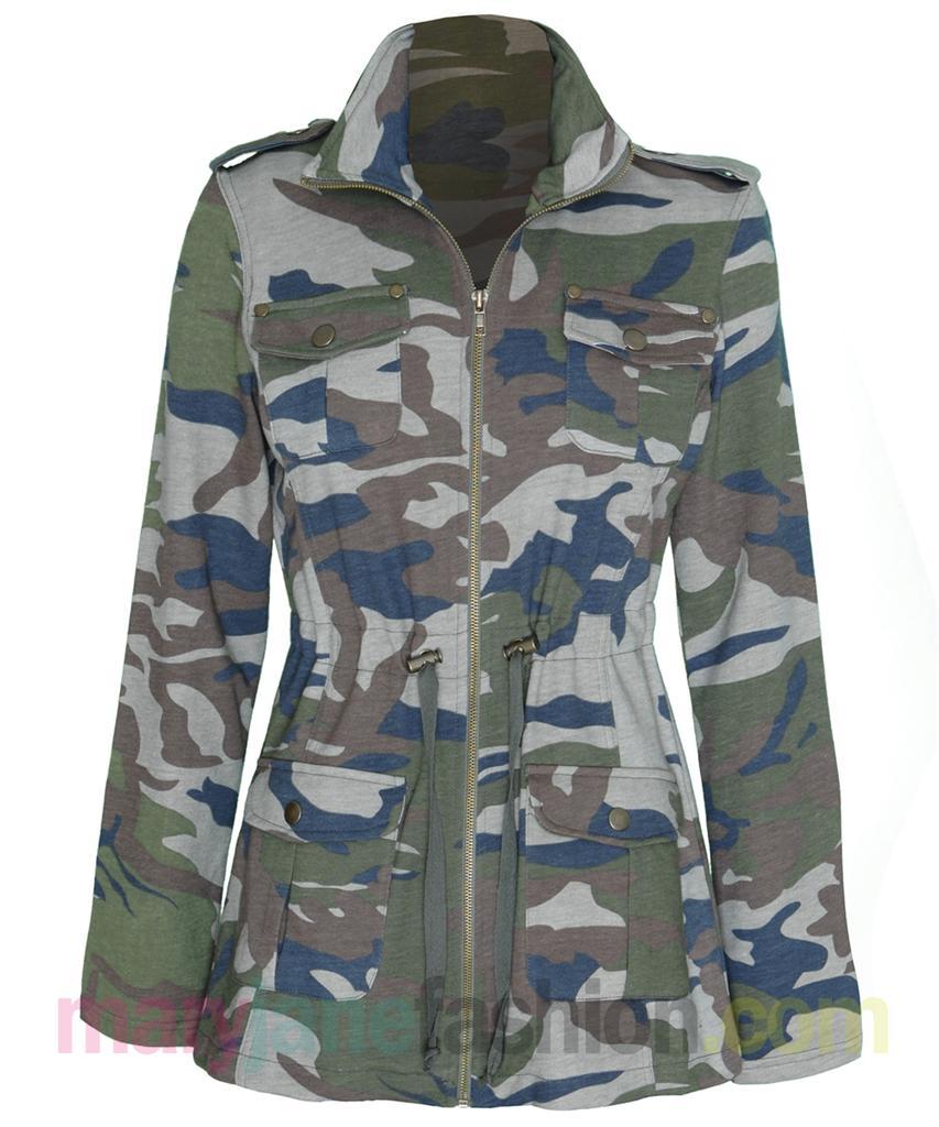 damen armee jacke pullover kordelzug camouflage army rei verschluss 36 38 40 42 ebay. Black Bedroom Furniture Sets. Home Design Ideas