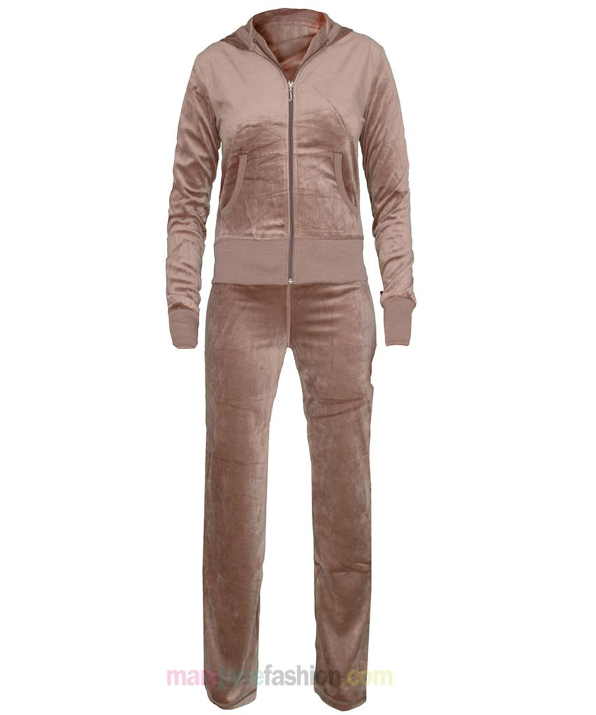 The velour sweatsuit is a very nice, rich, chocolate color. It doesn't fit as well as I would like, though, but it is definitely ok. The jacket is a little baggy and I wish it were a snug fit, but perhaps I should have ordered a smaller size.