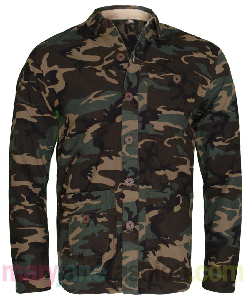 Mens Khaki Camo Army Print Button Up Multi Pocket Shirt