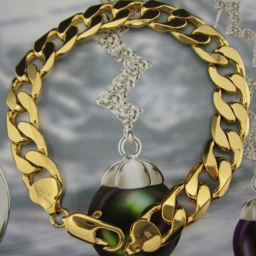 ITALY-24KGL-Mens-Heavy-Bracelet-Real-Yellow-Gold-Filled-Bracelet-Chain