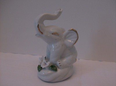 Vintage White Porcelain Elephant Figurine Antique Gold