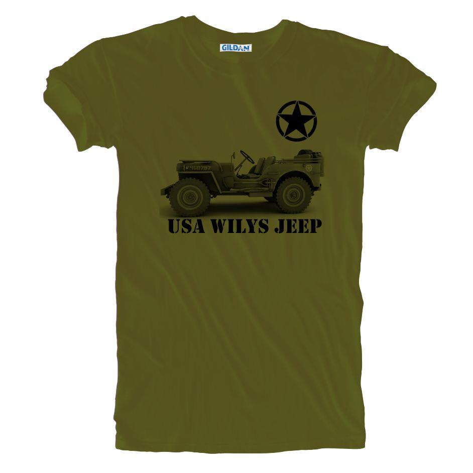 New Usa Army Vintage Retro Ww 2 Wilys Jeep T Shirt Sizes S