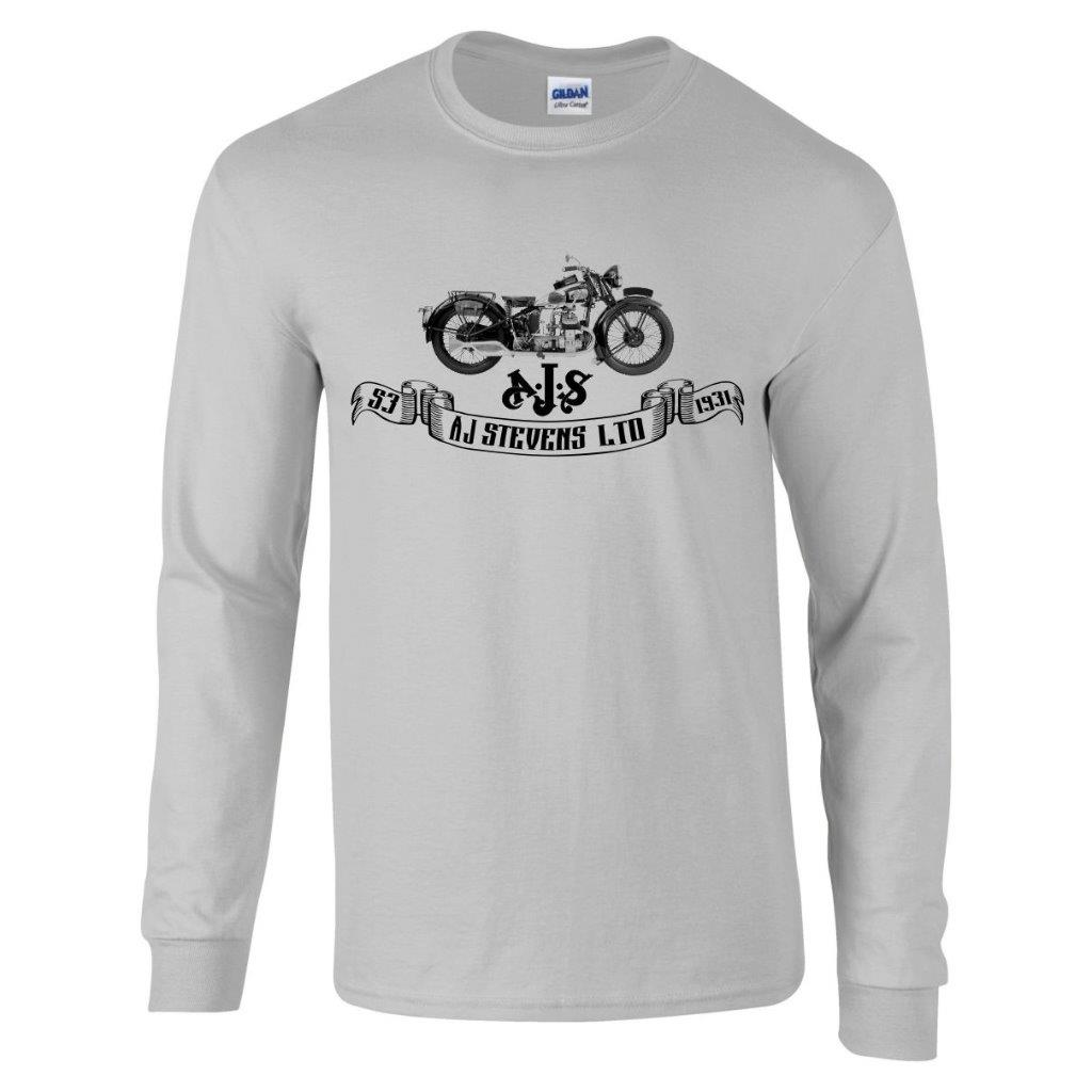 Vintage retro classic 1931 ajs s3 motorcycle long sleeve t for Retro long sleeve t shirts