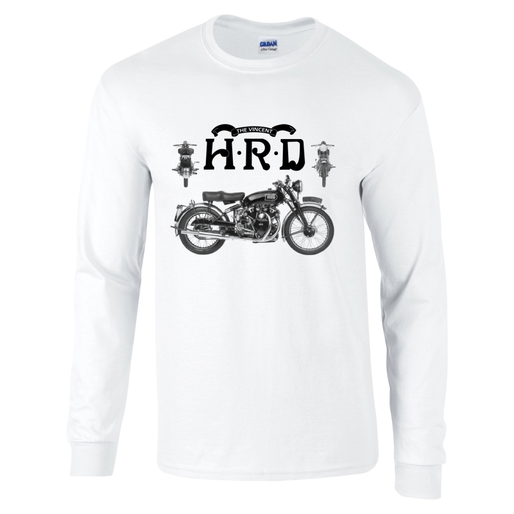 Vintage retro classic hrd vincent motorcycle biker long for Retro long sleeve t shirts