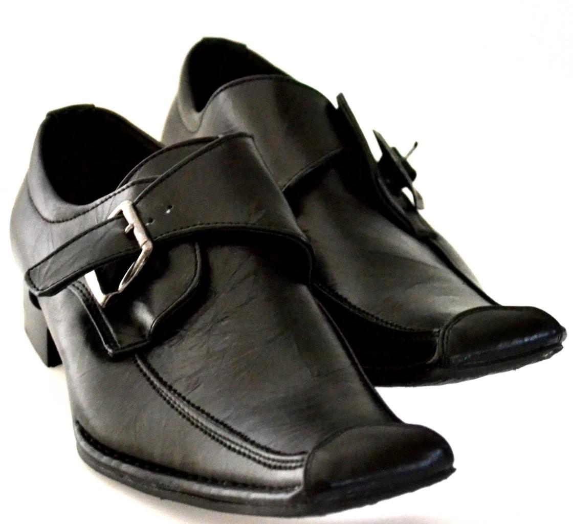 mens black buckle loafer style slip on loafer dress shoes