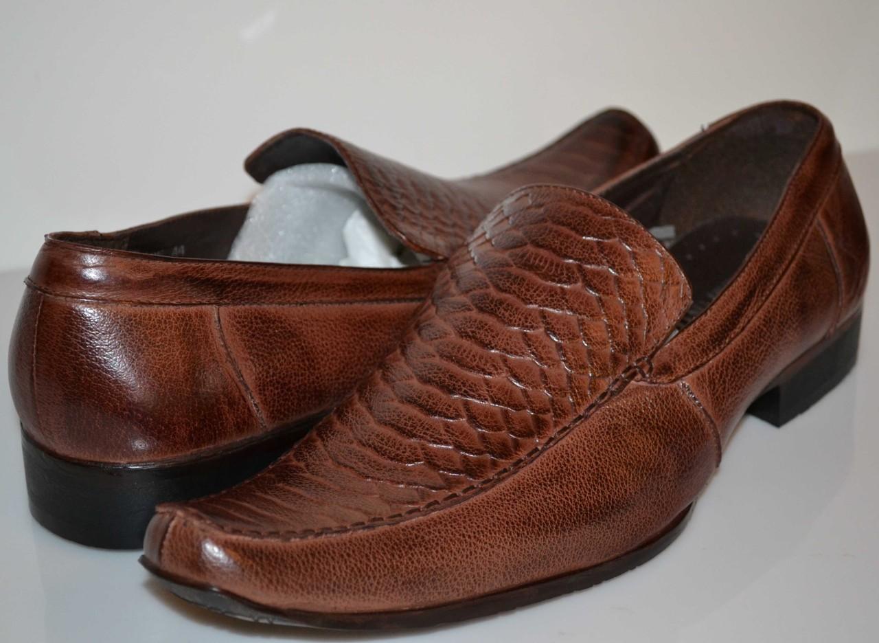 mens brown alligator style slip on loafer dress shoes