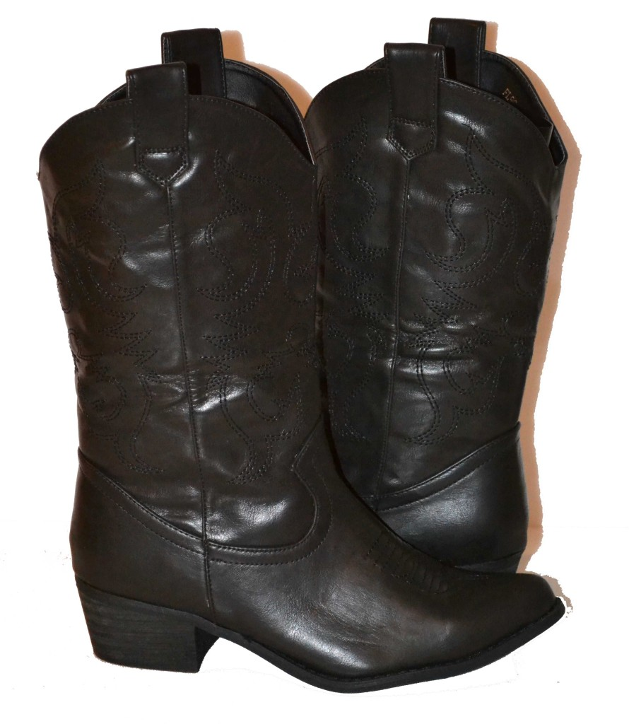 womens cowboy boots in black brand new fast shipping