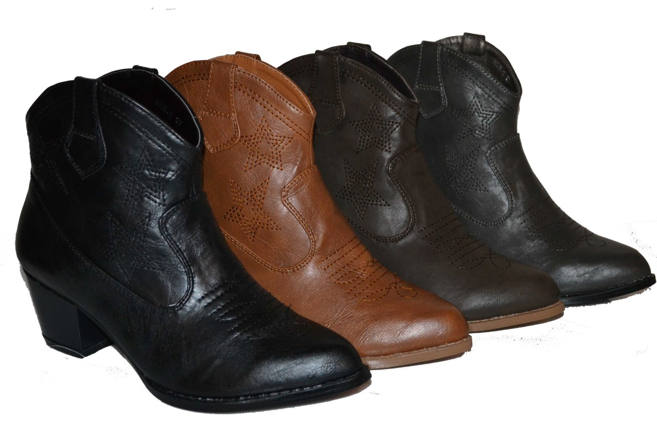 womens ankle high cowboy boots in 4 colors black d