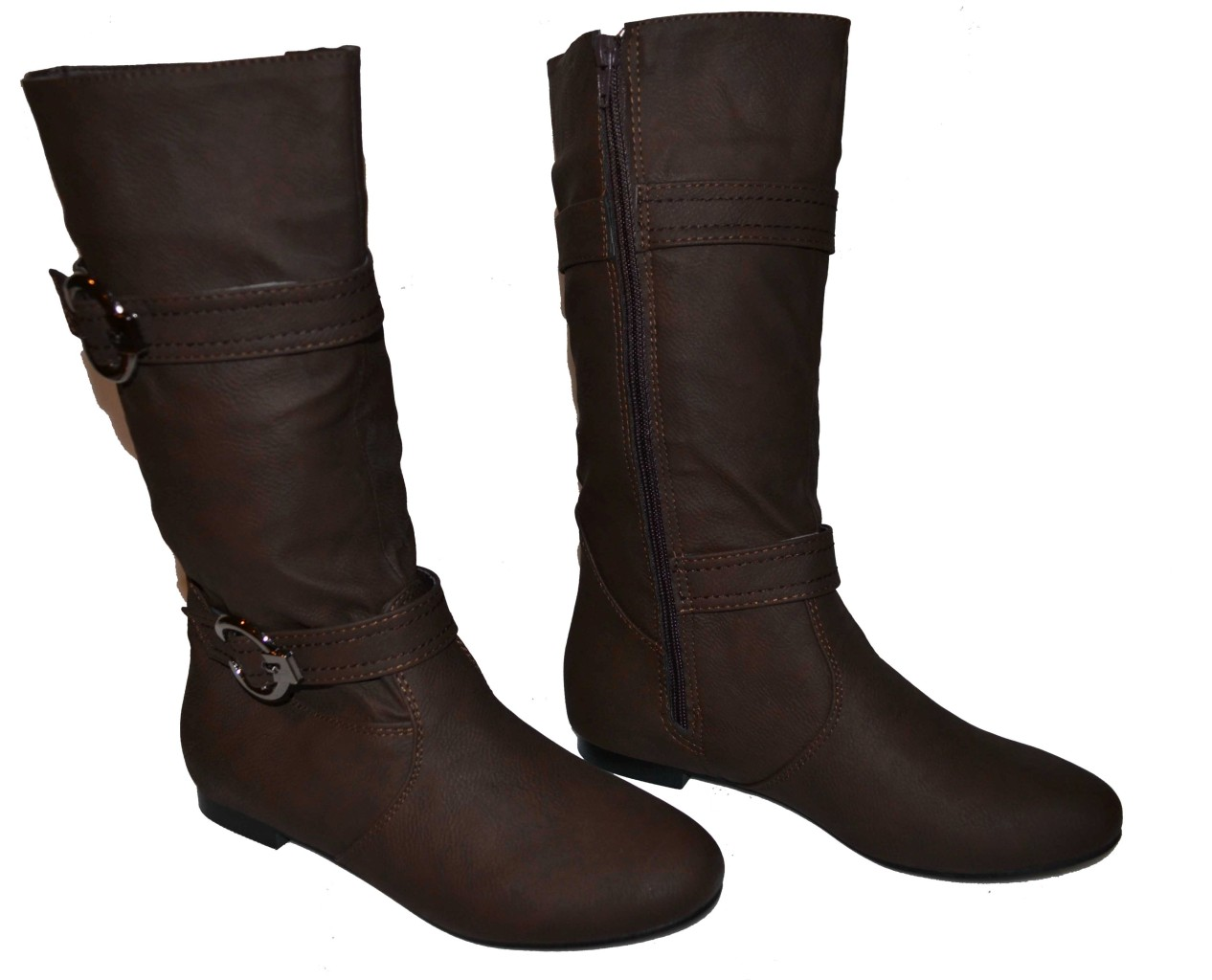 womens boots flats calf high slouch w buckles brown