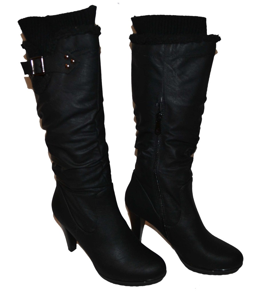 womens black boots knee high w 3 5 quot heel slouch buckle non