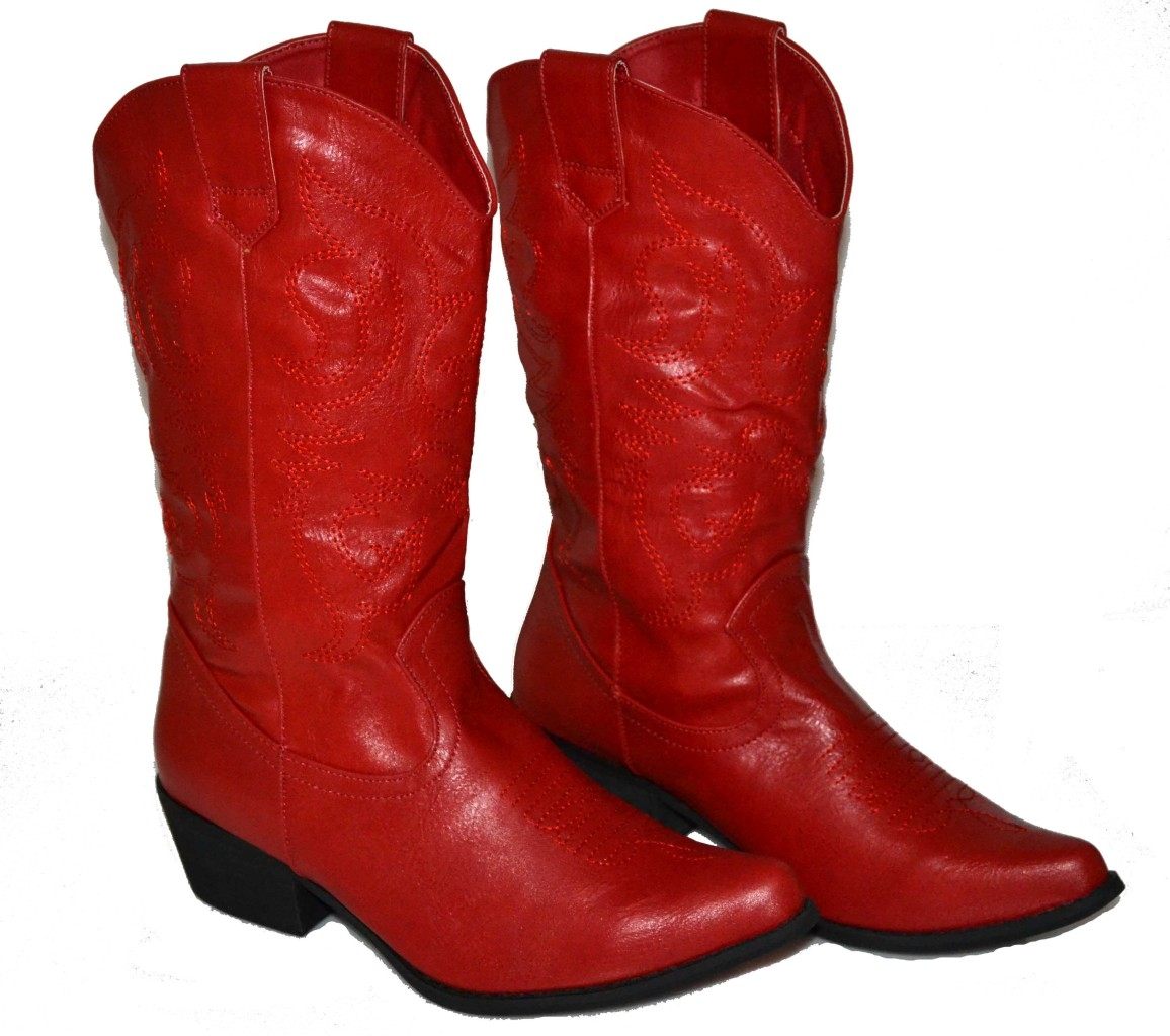 Luxury Vintage Red Leather Cowboy Boots Womens 6.5