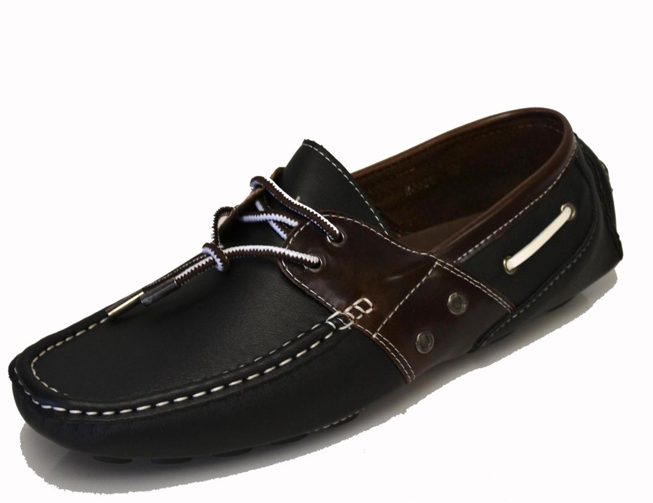 mens boat shoes black brown loafer casual oxfords