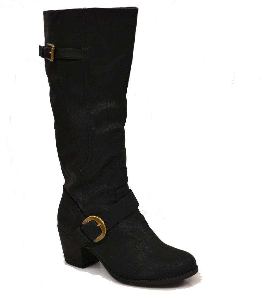 womens black 2 5 quot heel knee high boots buckle comfy high