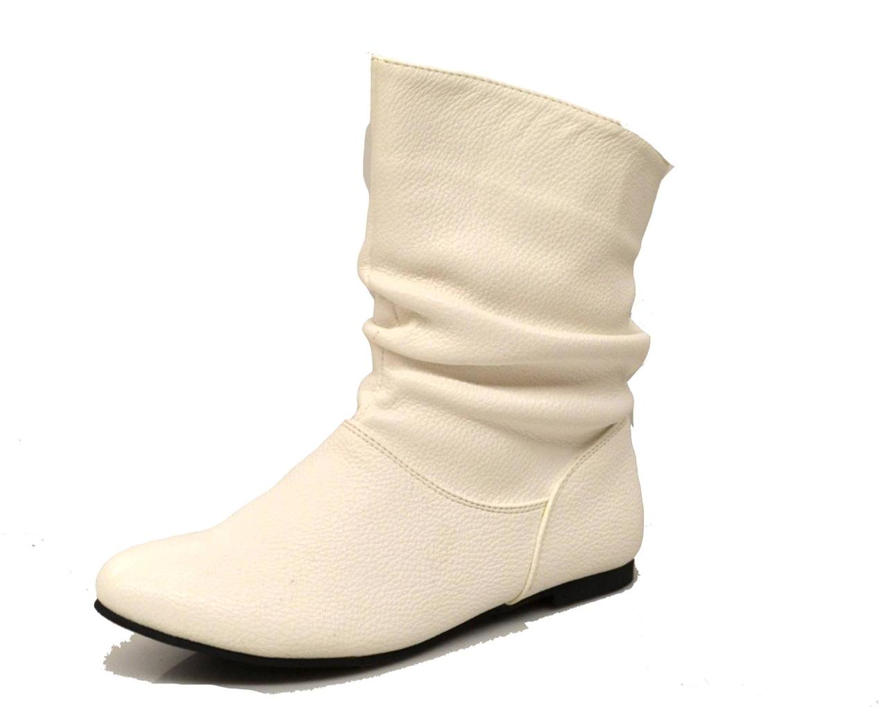 womens slouch ankle boots booties flats pull on winter