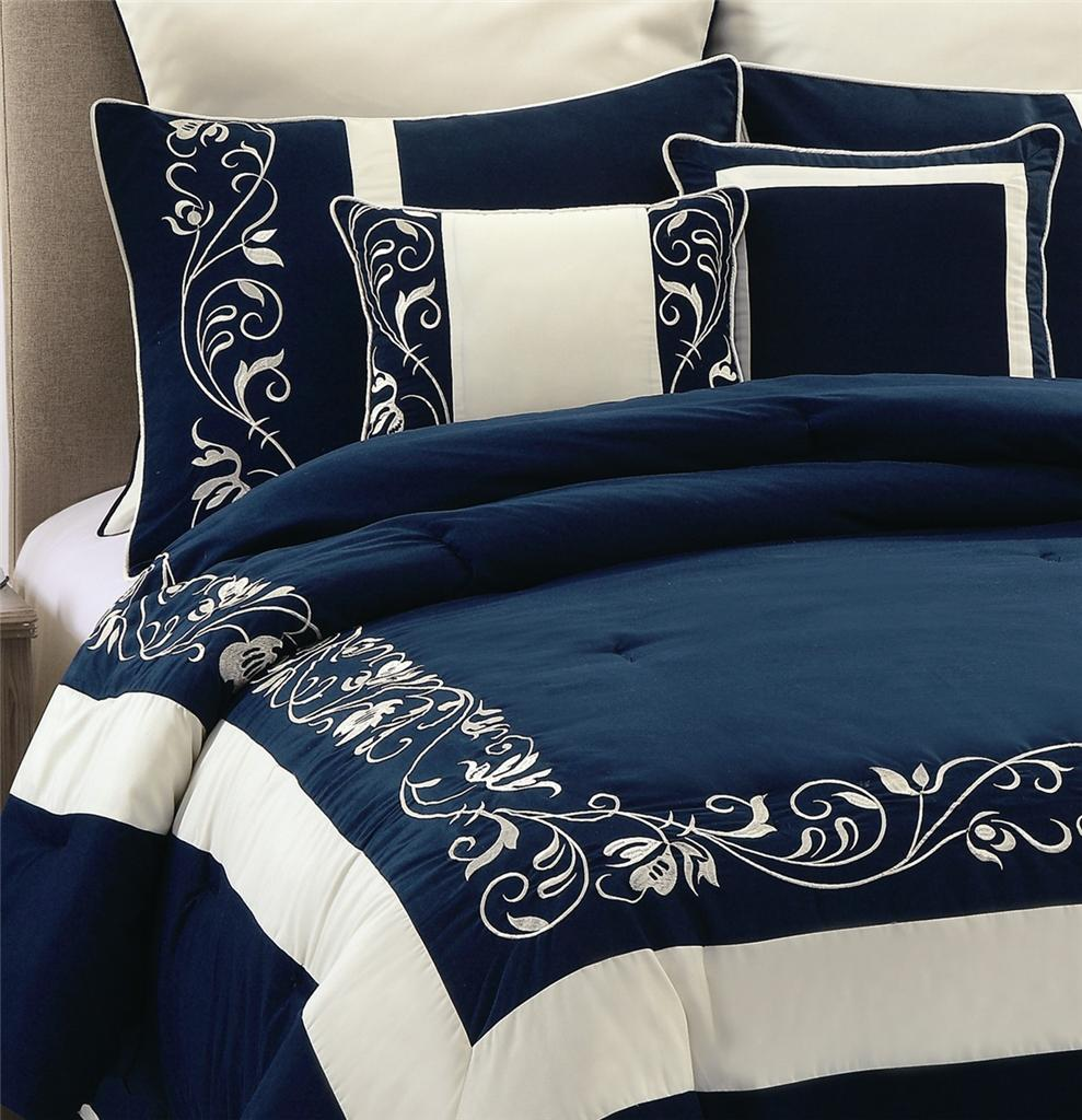 8pc Navy Blue Mateo Embroidery Peach Silk Comforter