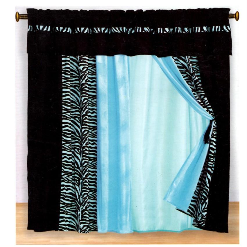15pc Blue Zebra Animal Queen Comforter Set W Matching Curtain Set Bed In Bag Ebay