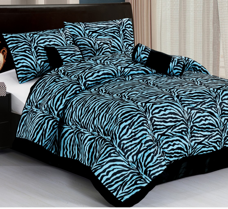 About 7pc new safarina zebra animal comforter set blue queen