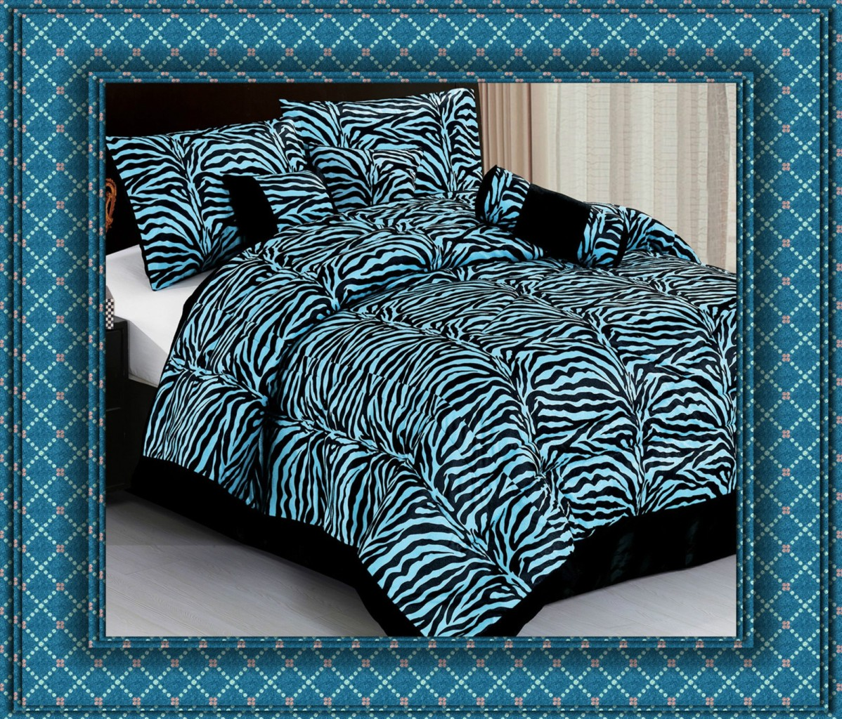 7pc blue zebra animal print comforter bedding set king bed Zebra print bedding