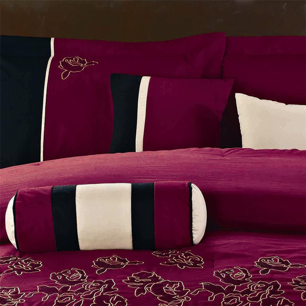 15pc Black Burgundy Peony Embroidery Comforter Set Queen W Matching Curtains