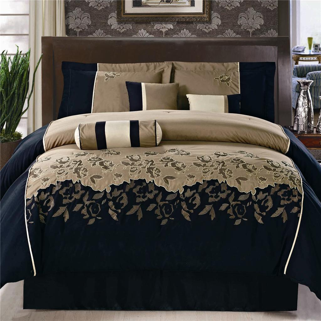 15pc Black Coffee Peony Embroidery Comforter Set Queen W Matching Curtains Ebay
