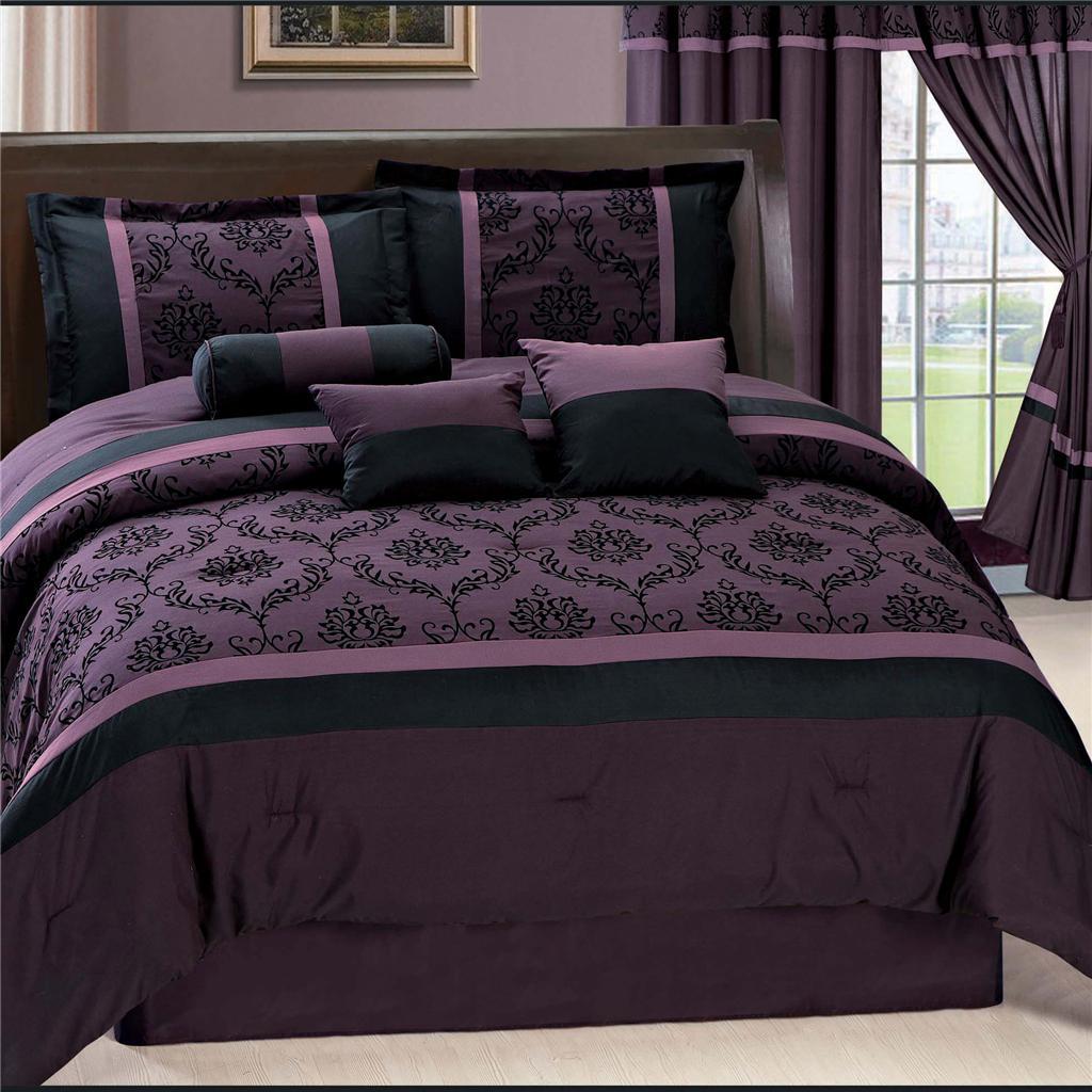 7pc purple laviano flocking comforter set queen bed in a bag ebay. Black Bedroom Furniture Sets. Home Design Ideas