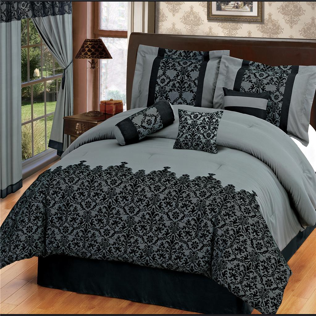 15pc Gray Flocking Comforter Noble Set W Matching Curtains Queen Ebay