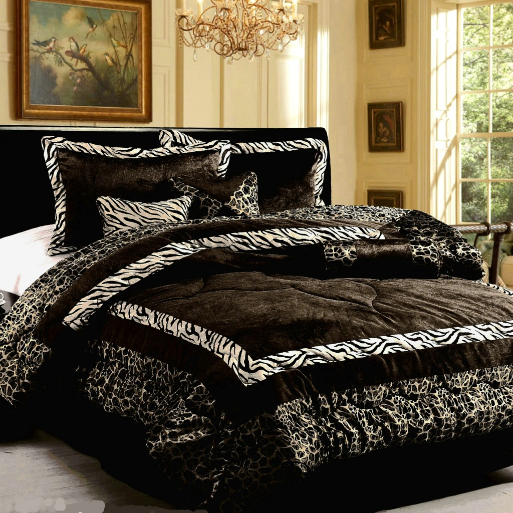 15PC NEW Luxury Faux Fur Safarina Black & White KING