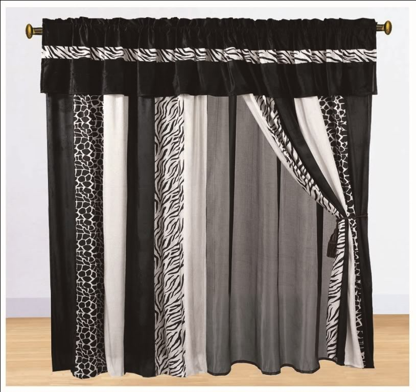 8pc Curtain Set Faux Fur Zebra Animal Print Classic