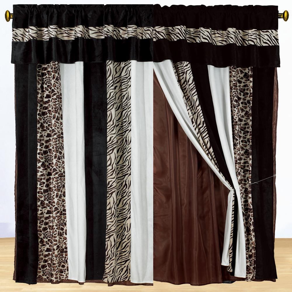 About new brown zebra animal print draps valance black curtains set