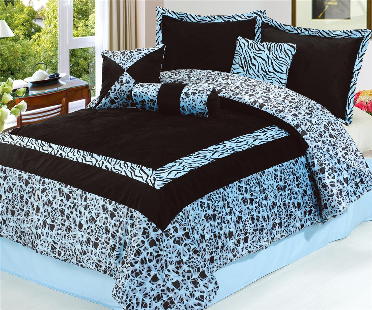 Home amp garden gt bedding gt comforters amp sets gt see more 7 pc faux fur - Safarina Blue 7pc Giraffe Bedspread